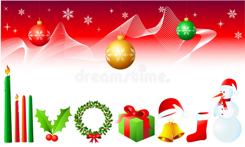 Weihnachtsauslegung-Elemente vektor abbildung