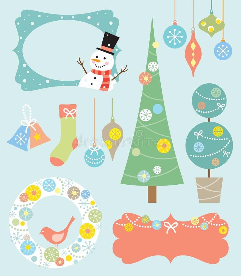Weihnachtsauslegung-Elemente lizenzfreie abbildung