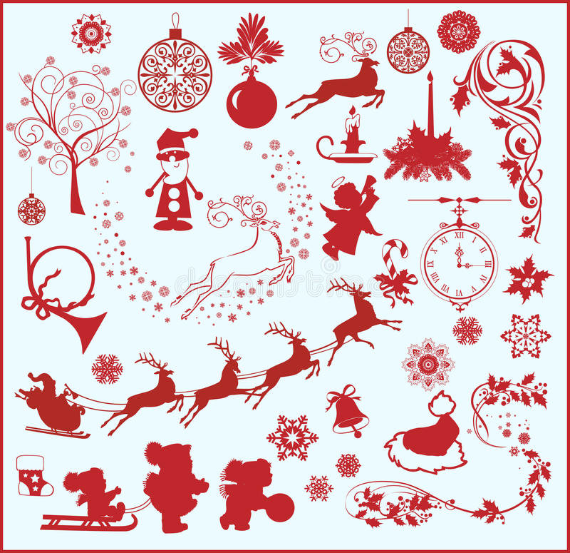 Weihnachtsauslegungelemente stock abbildung