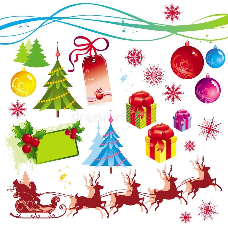Weihnachtsauslegungelemente lizenzfreie abbildung