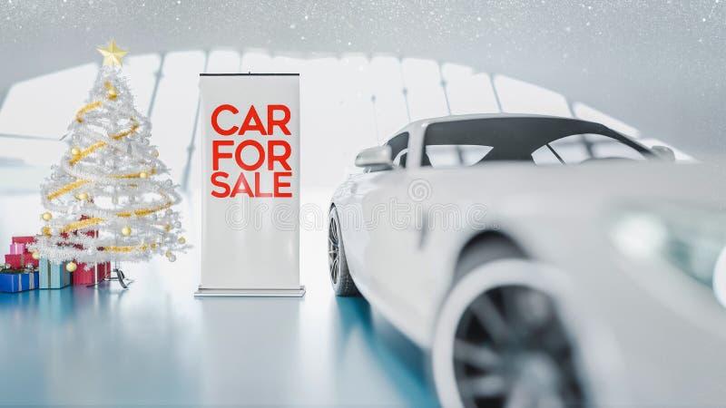 Weihnachtsauto und -Geschenkbox im Ausstellungsraum lizenzfreie abbildung