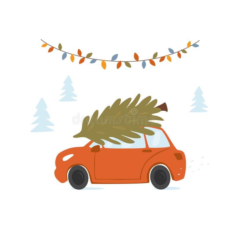 Weihnachtsautofür Weihnachten mit Kiefer auf eine Dachoberseite nach Hause fahren vektor abbildung