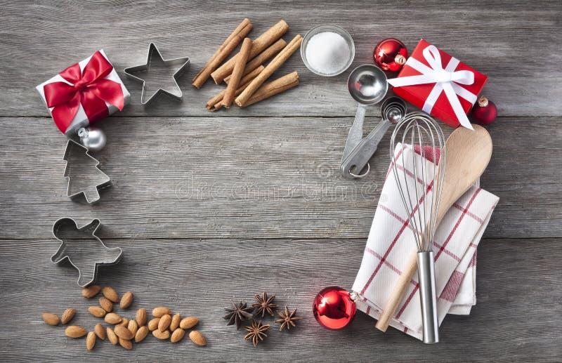 Weihnachtsbäckerei-Rahmen-Hintergrund lizenzfreies stockbild