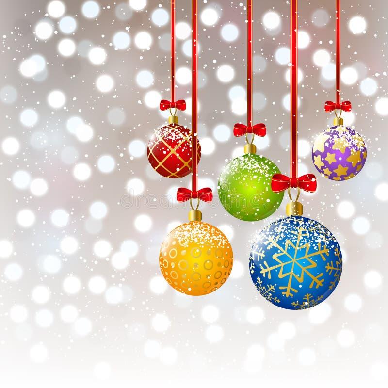 Weihnachtsbälle auf bokeh Hintergrund vektor abbildung