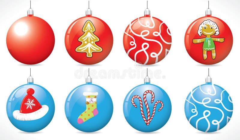 Weihnachtsbälle auf dem Weihnachtsbaum der roten und blauen Farbe vektor abbildung
