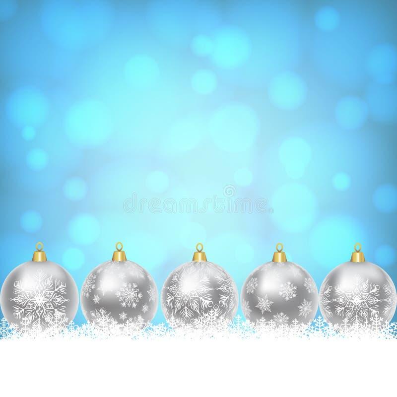 Weihnachtsbälle auf glänzendem blauem Hintergrund lizenzfreie abbildung