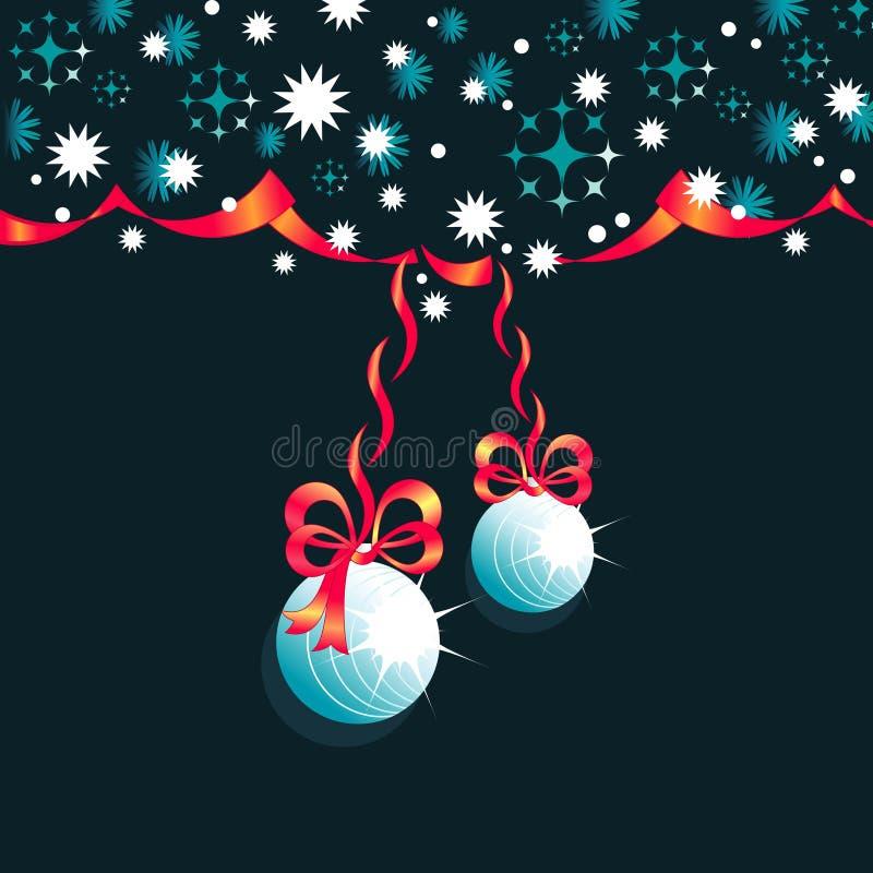 Weihnachtsbälle, -bänder und -bögen auf dunkelblauem Winterhintergrund mit Schneeflocken stock abbildung
