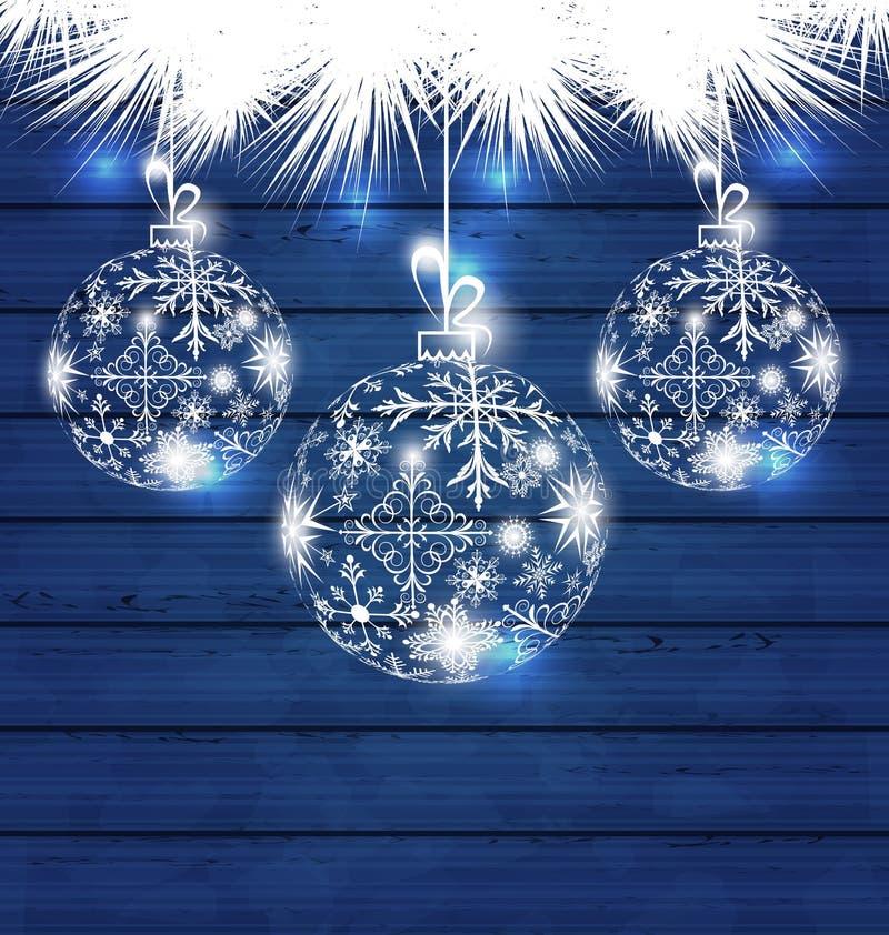 Weihnachtsbälle gemacht in den Schneeflocken auf blauem hölzernem Hintergrund stock abbildung