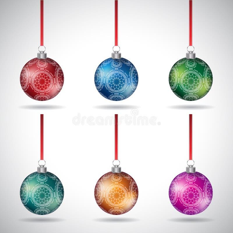 Weihnachtsbälle mit dekorativen runden Formen und rotem Band Vect lizenzfreie abbildung