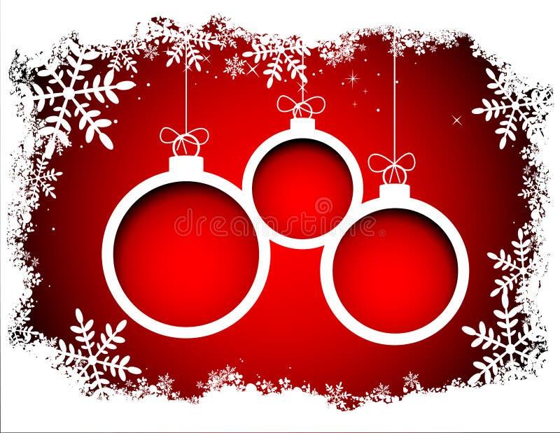 Weihnachtsbälle mit Schneeflockenrahmen lizenzfreie abbildung