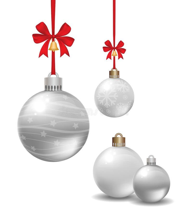 Weihnachtsb?lle mit silbernem Band und dem Bogen lokalisiert auf wei?em Hintergrund vektor abbildung
