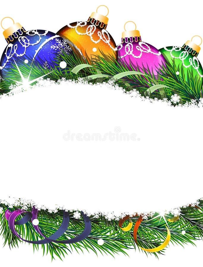 Weihnachtsbälle und -Tannenzweige vektor abbildung