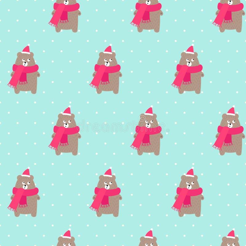 Weihnachtsbär in Feiertage Hut und Schal mit nahtlosem Muster der Schneeflocken auf Tupfen prägen grünen Hintergrund lizenzfreie abbildung