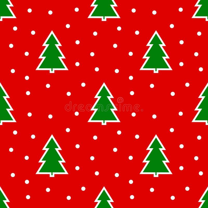 Weihnachtsbäume auf nahtlosem Muster des roten Hintergrundes vektor abbildung
