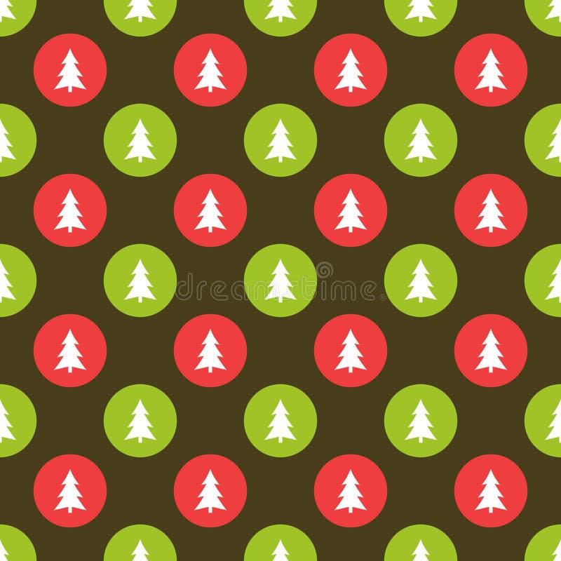 Weihnachtsbäume im nahtlosen Muster der grünen und roten Kreise lizenzfreie abbildung