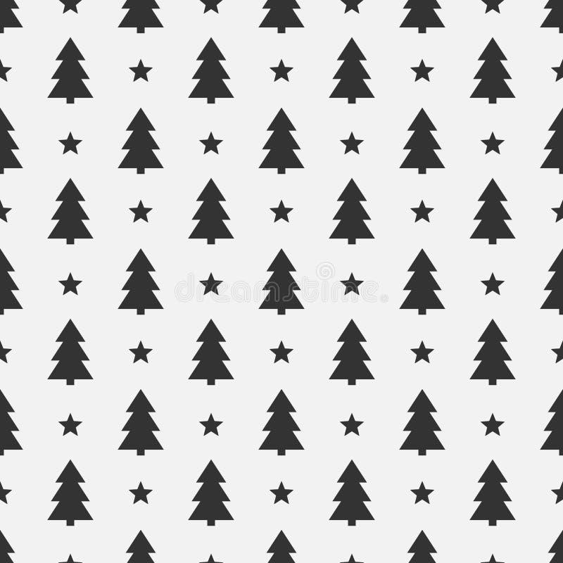 Weihnachtsbäume schwärzen nahtloses Muster stock abbildung