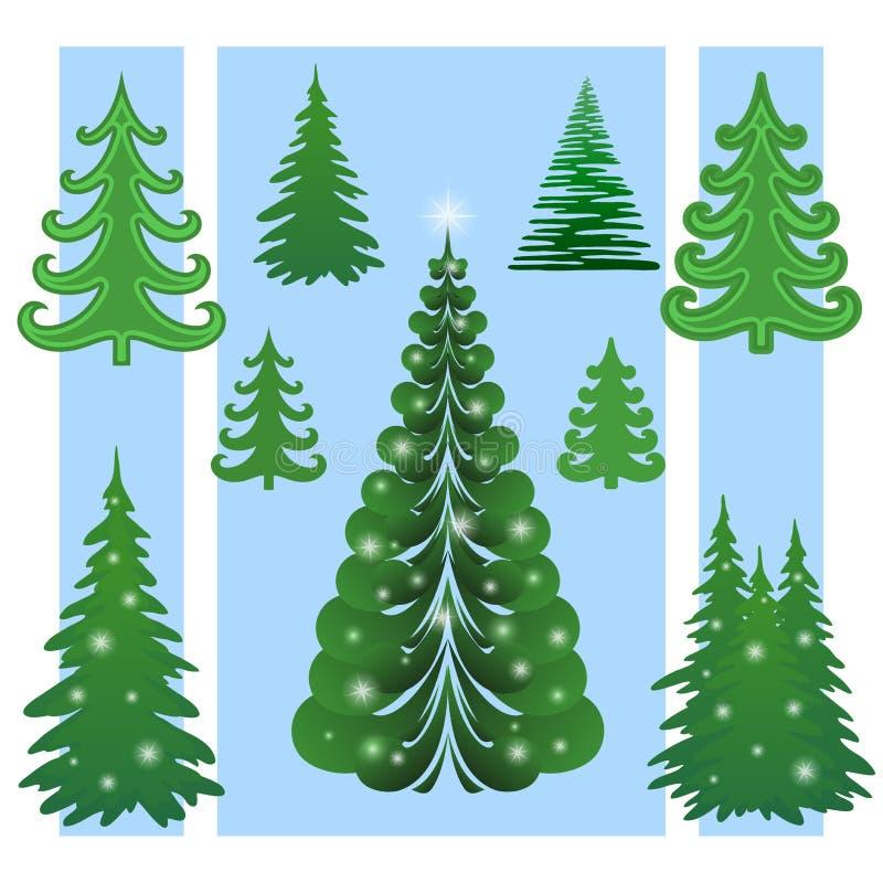 Weihnachtsbäume, Set lizenzfreie abbildung
