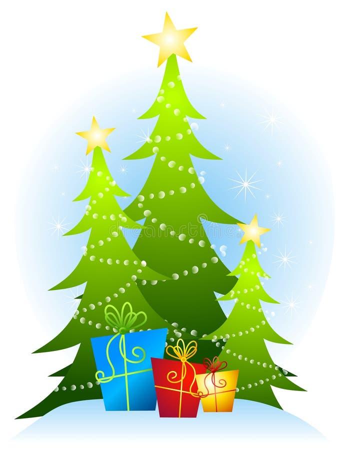 Weihnachtsbäume und Geschenke lizenzfreie abbildung