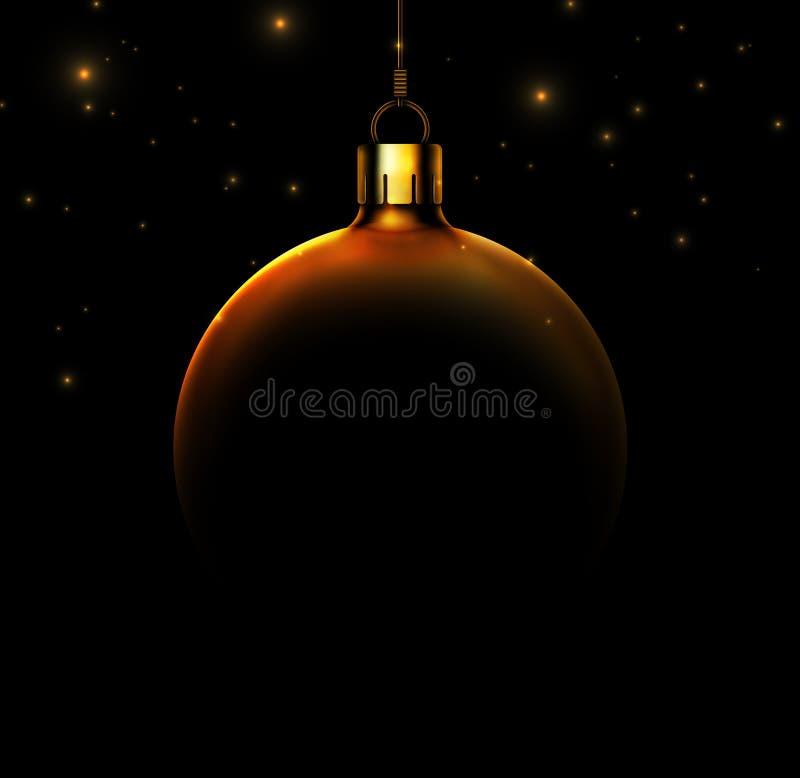 Weihnachtsball auf schwarzem Hintergrund lizenzfreie abbildung