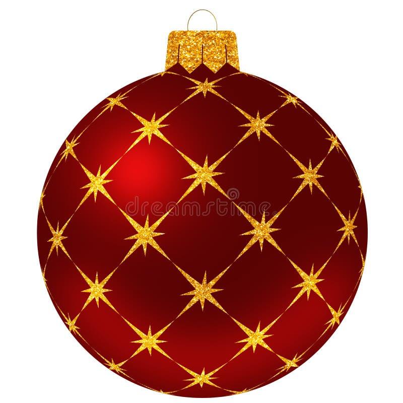 Weihnachtsball mit goldenen Sternen in der roten Farbe stock abbildung