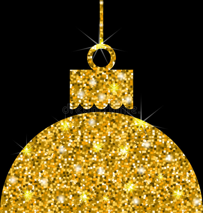 Weihnachtsball mit goldener Schein-Oberfläche stock abbildung