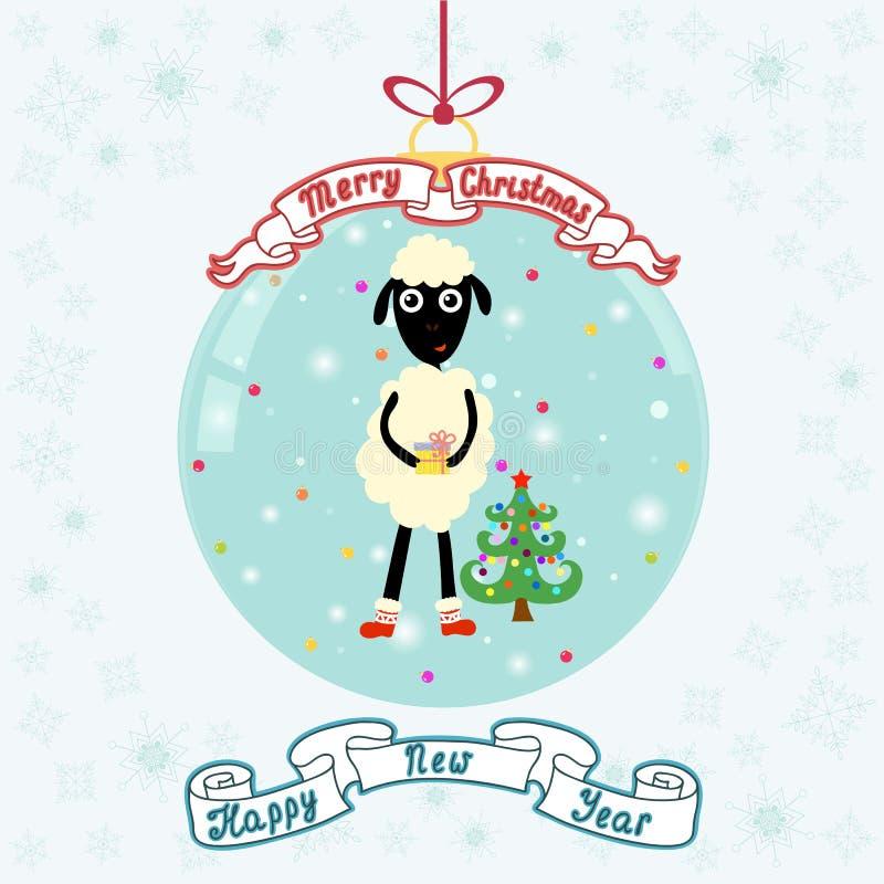 Weihnachtsball mit netten Schafen und Weihnachtsbaum Fröhliches Christm lizenzfreie abbildung