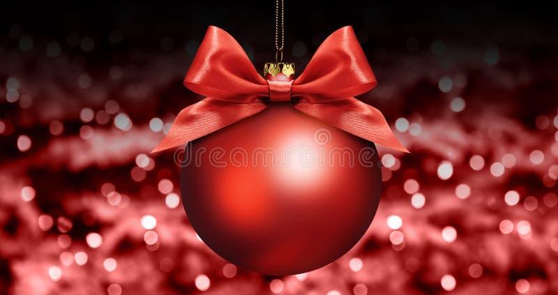Weihnachtsball mit rotem Satinbandbogen auf Rot verwischte Lichter b stockfoto