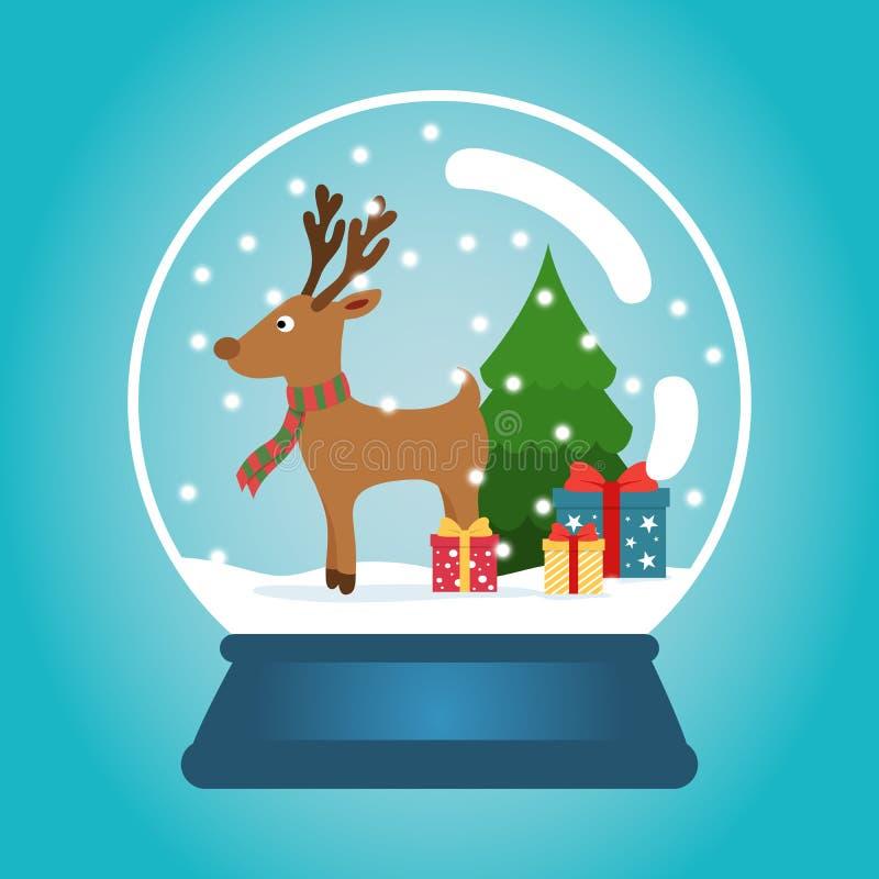Weihnachtsball mit Schnee, lustigen Rotwild und einem Weihnachtsbaum Schneekugel mit Geschenkboxen Winterweihnachtsvektor vektor abbildung