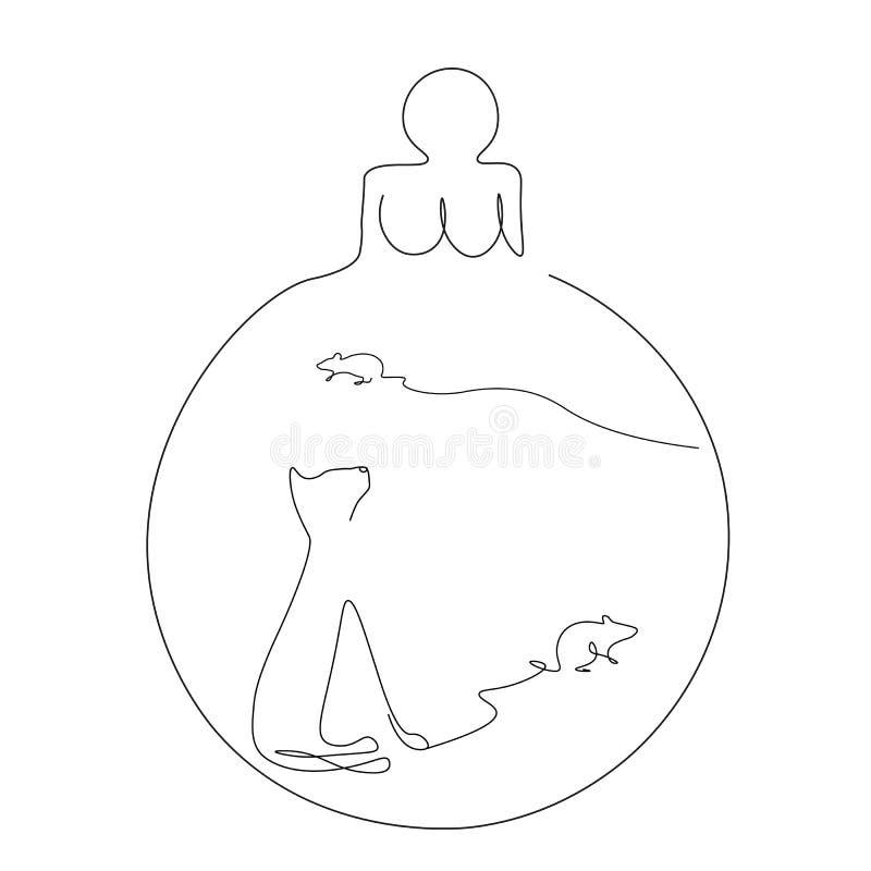 Weihnachtsball mit Verzierung mit der Maus lokalisiert auf weißer Linie abgehobener Betrag, Vektor stock abbildung