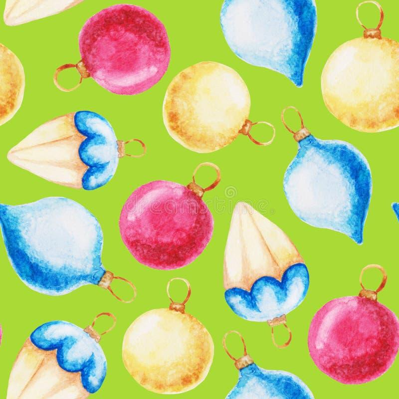 Weihnachtsball und -kiefer mit Dekorationen Verzierung des neuen Jahres mit Bogen Für Design, Druck oder Hintergrund vektor abbildung