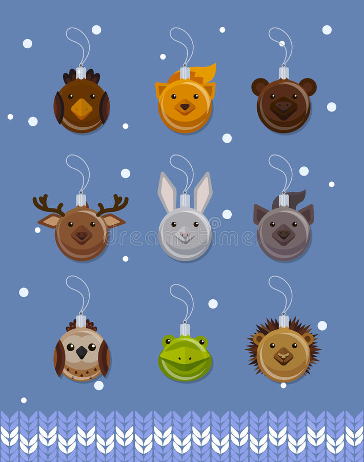 Weihnachtsballdekorationen in der Form von Waldtieren, flacher Vektor stock abbildung