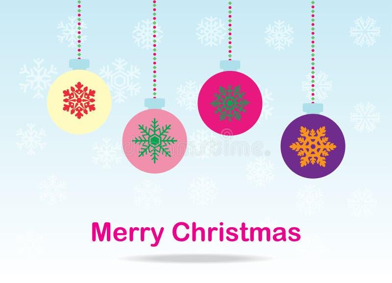 Weihnachtsballkarte stockbild