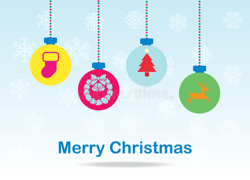 Weihnachtsballkarte lizenzfreies stockbild