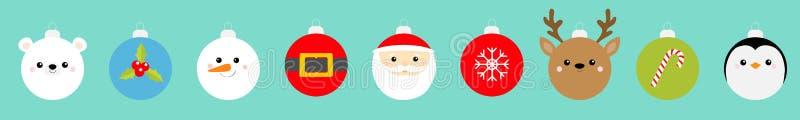 Weihnachtsballspiel Penguin, Schneemann, Weihnachtsmann, Bär, Hirsch, Hirsch Gürtel, Heilige Beeren, Schneeflocken, Süßrohre Baub vektor abbildung