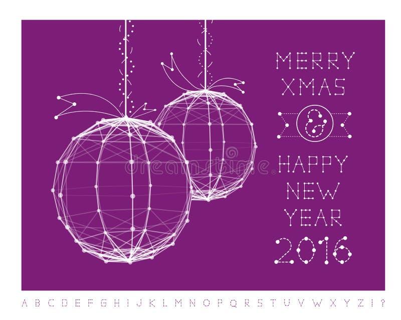 Weihnachtsballvektorillustration und -guß lizenzfreie abbildung