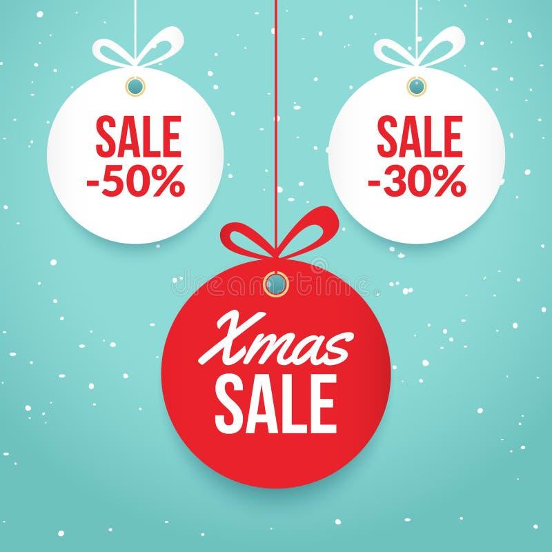 Weihnachtsballverkauf Roter Aufkleber Feiertagskartenschablone des neuen Jahres Shopmarkt-Plakatdesign vektor abbildung