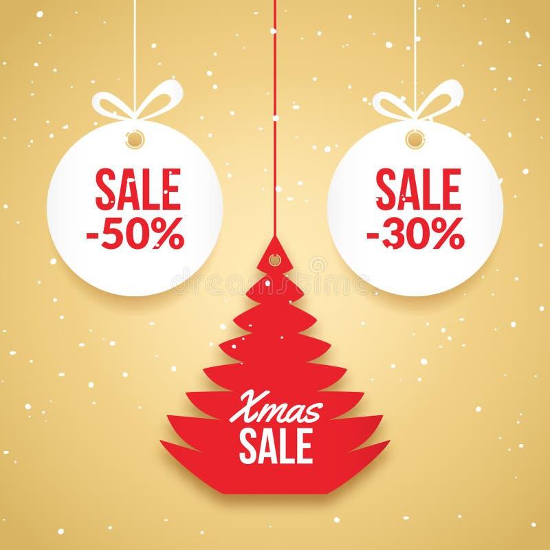 Weihnachtsballverkauf Roter Aufkleber Feiertagskartenschablone des neuen Jahres Shopmarkt-Plakatdesign mit Weihnachtsbaum lizenzfreie abbildung