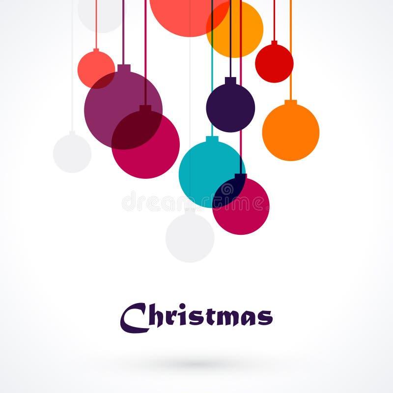 Weihnachtsballverzierungen - bunter Hintergrund stock abbildung