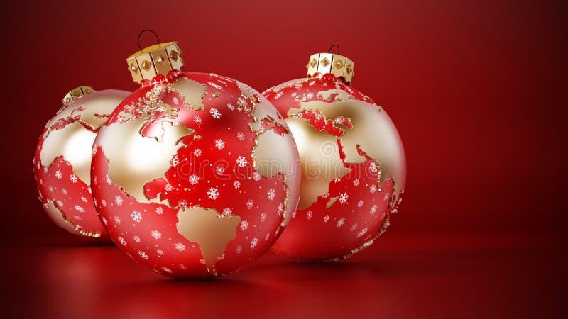 Weihnachtsbaubeln mit Erdkarte auf roter Oberfläche 3D-Darstellung lizenzfreie abbildung