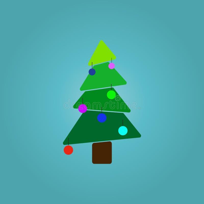 Weihnachtsbaum über blauer Hintergrundvektorillustration lizenzfreie abbildung