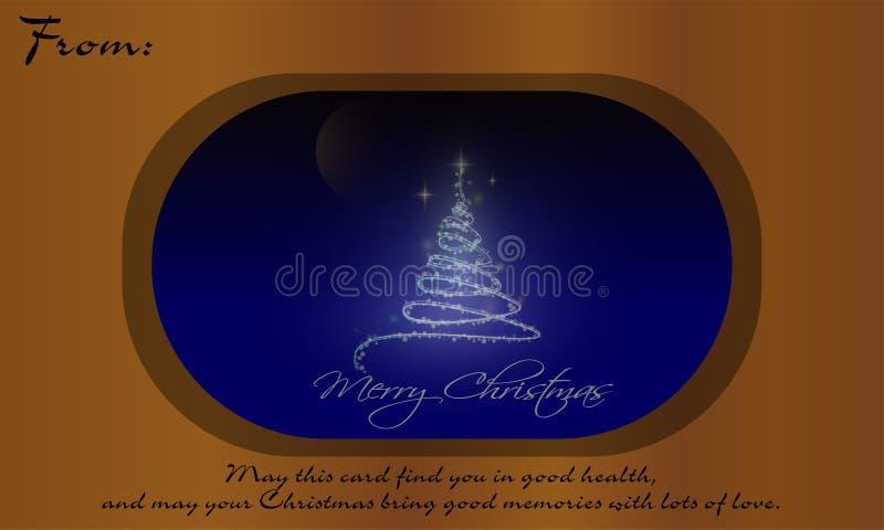 Weihnachtsbaum auf Glas und Wörtern von Klugheit stock abbildung