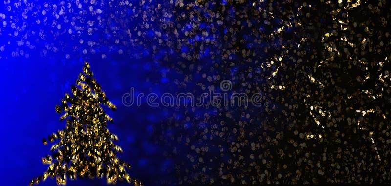 Weihnachtsbaum auf glitzerndem Hintergrund Weihnachtsdekoration lizenzfreie abbildung