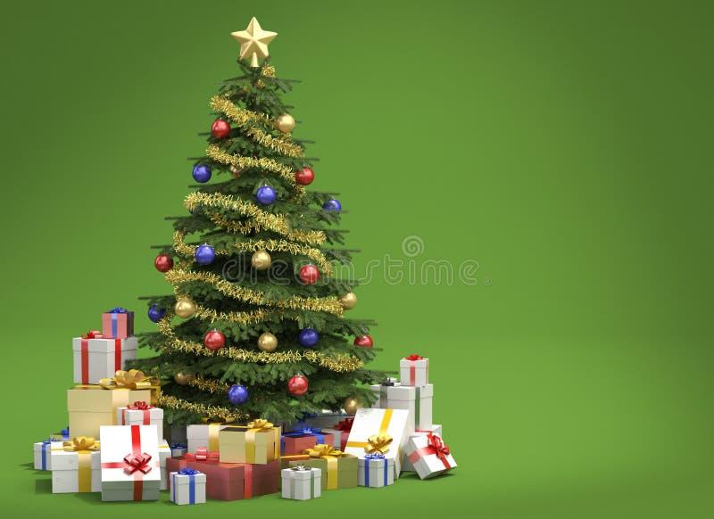Weihnachtsbaum auf grünem Hintergrund stock abbildung