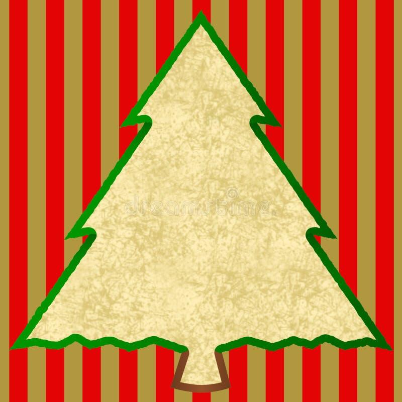 Weihnachtsbaum auf roten goldenen Streifen stockfotografie