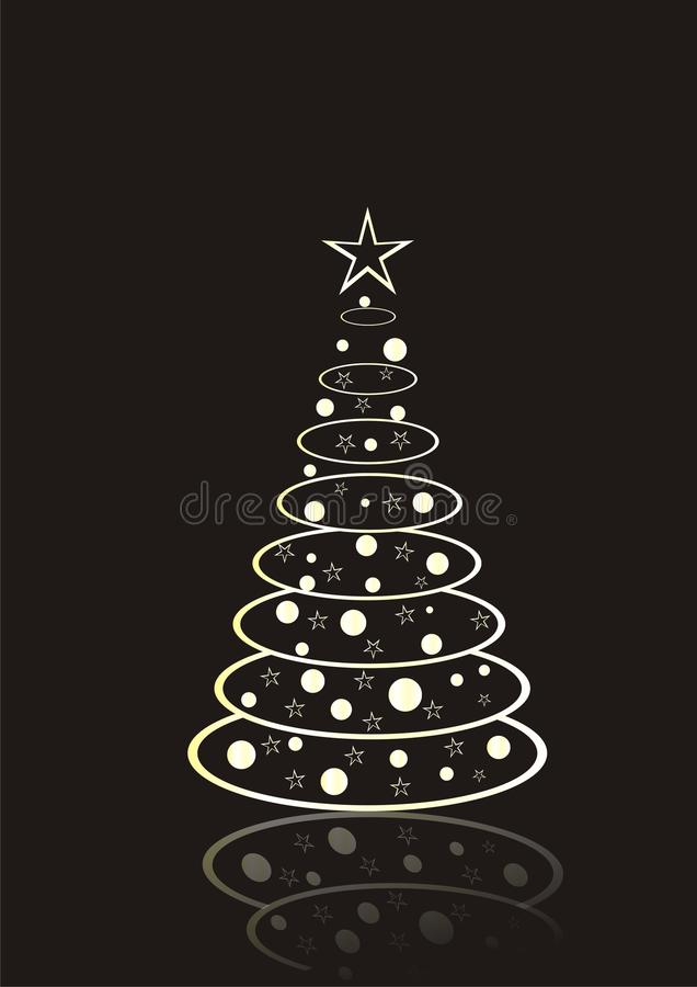 Weihnachtsbaum auf schwarzem Hintergrund vektor abbildung