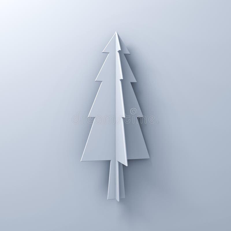 Weihnachtsbaum auf weißem Hintergrund für Weihnachtsdekoration mit Schatten stock abbildung