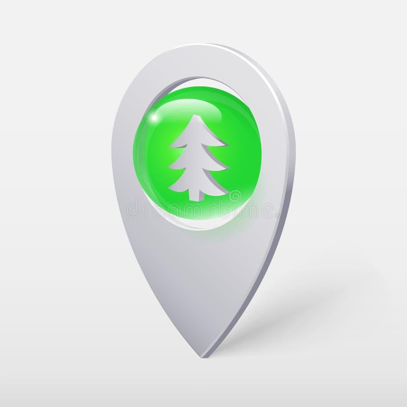 Weihnachtsbaum Crystal Ball Pointer oder Pin lizenzfreie abbildung