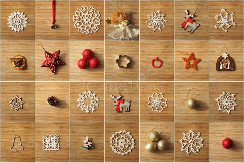 Weihnachtsbaum-Dekorationscollage stockfotografie