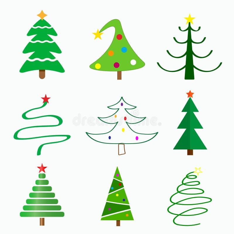 Weihnachtsbaum in den verschiedenen Arten lizenzfreie abbildung