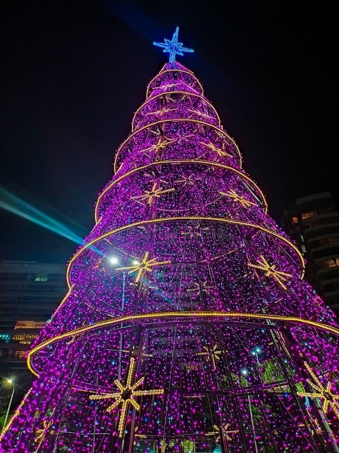 Weihnachtsbaum in der Öffentlichkeit stockbild